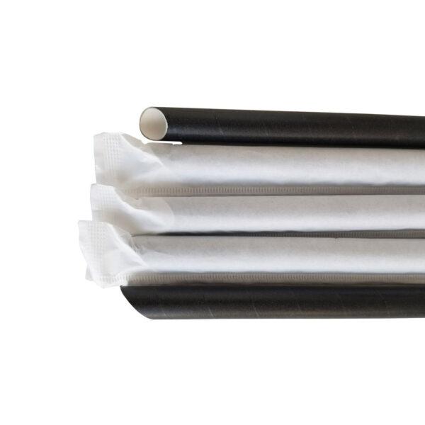"""10.23"""" Black Wrapped Diagonal Cut Boba Straws"""