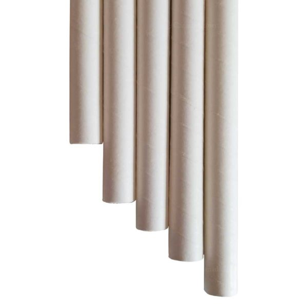 """10.23"""" Colossal Long White Wrapped Paper Straws"""