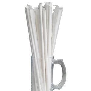 "10.23"" Jumbo Long White Wrapped Paper Straws"