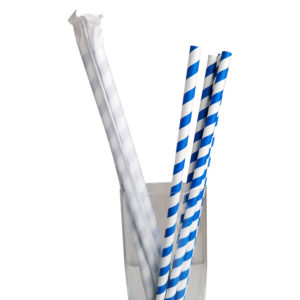 "10.23"" Giant Milkshake Long Blue Striped Wrapped Paper Straws"