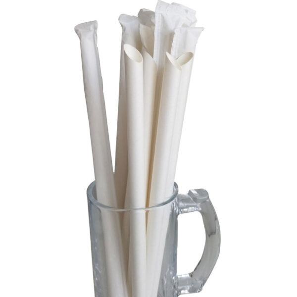 """10.23"""" White Wrapped Diagonal Cut Boba Straws"""