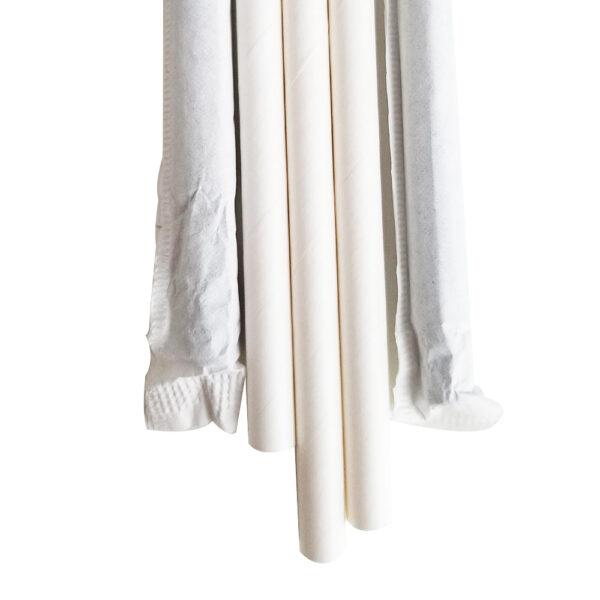 """10.23"""" Giant Milkshake Long White Wrapped Paper Straws"""