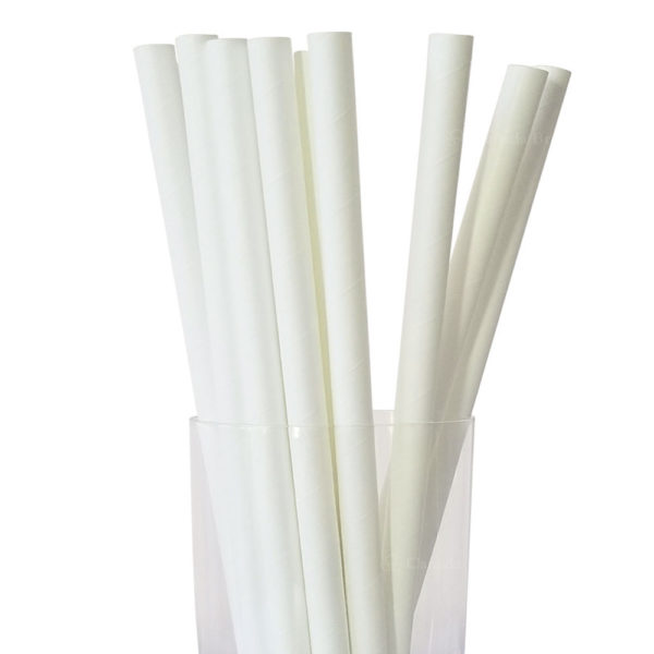 "10.23"" Colossal Long White Paper Straws"