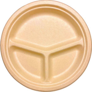 10″ 3 Compartments Sugar Cane Natural Kraft Plate (500/CS)
