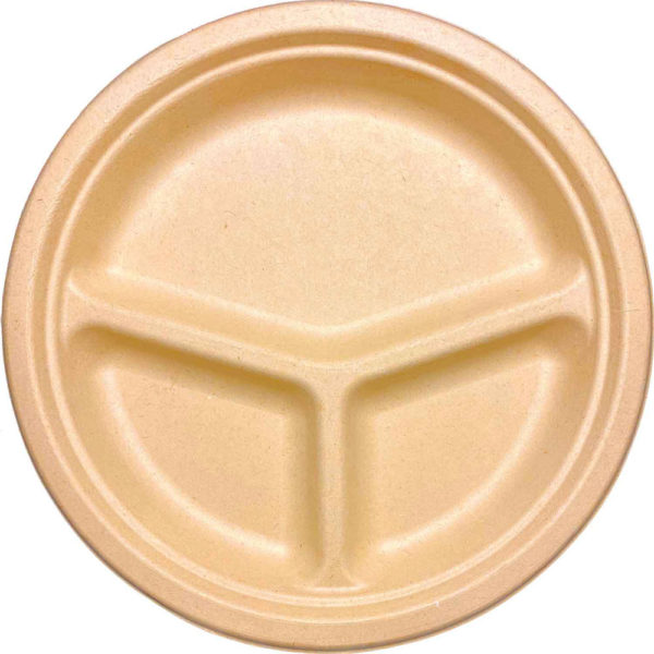 10″ 3 Compartments Sugar Cane Natural Kraft Plate (500/CS)