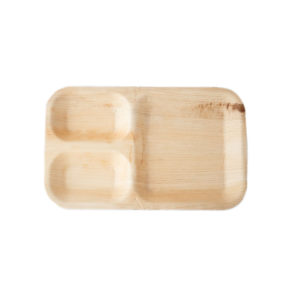 """11"""" x 7"""" Palm Leaf Rectangle Plate with Partition"""