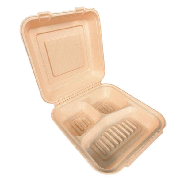"9""x9""x3"" 3 Compartments Sugar Cane Natural Kraft Clamshell (100% Compostable) (200/CS)"