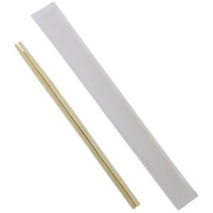 Double Bamboo Chopsticks Wrapped In Paper With Two Color Green Logo (1000/Case)
