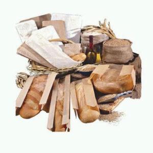 Natural 30LB Machine Glaze Paper Baguette Bread Bag With Window (1000/cs) 4 x 2 x 24