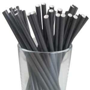 "5.75"" Jumbo Cocktail Black Paper Straws"