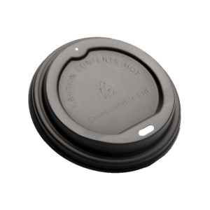 Black CPLA Dome Lid for 8oz Paper Cup