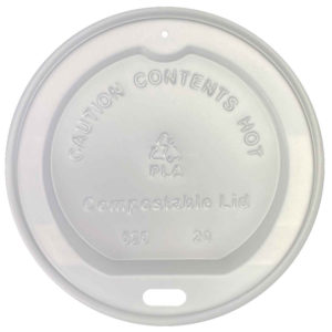 White CPLA Dome Lid for 10-24oz Paper Cup