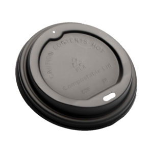 Black CPLA Dome Lid For 10-24oz Paper Cup
