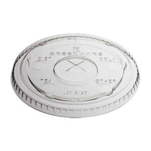 PLA Flat Lid w/ X strawslot for 12-20oz PLA Compostable Cup (1000/CS)