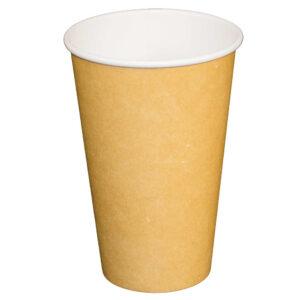 16oz Kraft Paper Single Wall Compostable Hot Drink Cups (1000/CS)
