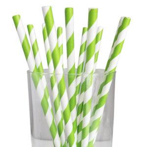 "7.67"" Jumbo Regular Green Striped Paper Straws"