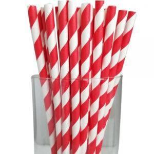 "7.67"" Jumbo Regular Red Striped Paper Straws"