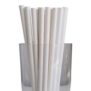 "10.23"" Jumbo Long White Unwrapped Paper Straws"