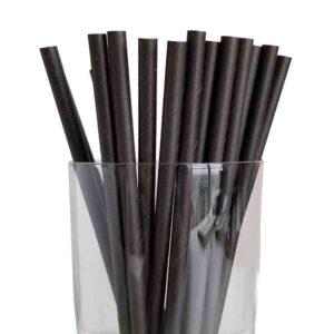 "7.75"" Jumbo Regular Black Paper Straws"