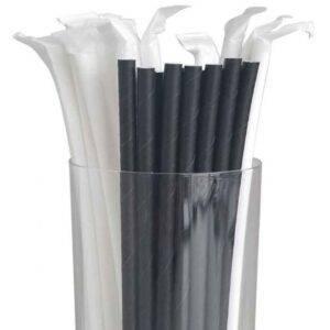 "7.75"" Jumbo Regular Black Wrapped Paper Straws"