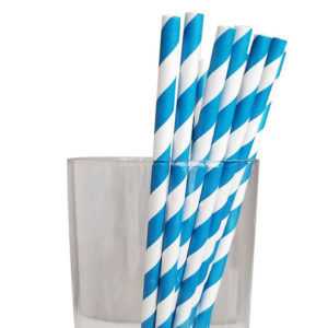 "7.75"" Jumbo Regular Blue Striped Paper Straws"