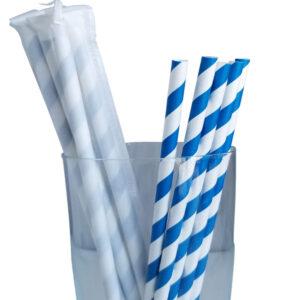 "7.75"" Jumbo Regular Blue Striped Wrapped Paper Straws"