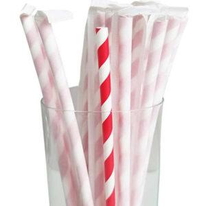 "7.75"" Jumbo Regular Red Striped Wrapped Paper Straws"