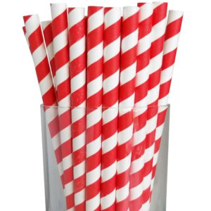 "7.75"" Giant Milkshake Red Striped Paper Straws"