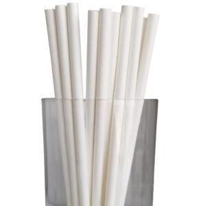 "7.75"" Jumbo Regular White Paper Straws"
