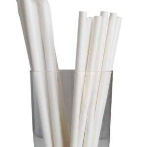 "7.75"" Jumbo Regular White Wrapped Paper Straws"