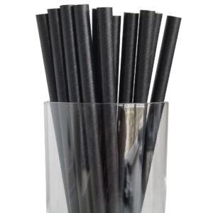"""7.75"""" Giant Milkshake Regular Black Wrapped Paper Straws"""