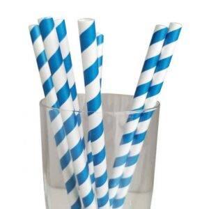"""7.75"""" Giant Milkshake Regular Blue Striped Paper Straws"""