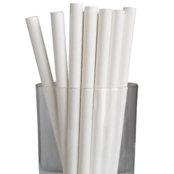"""7.75"""" Giant Milkshake Regular White Paper Straws"""