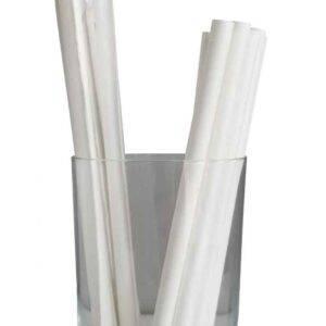 """7.75"""" Giant Milkshake Regular White Wrapped Paper Straws"""