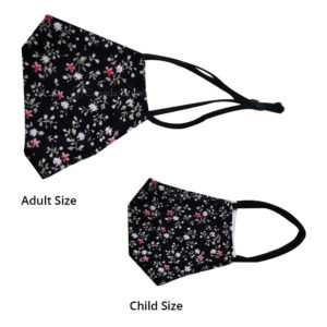 Reusable 3 Layer Black Floral Fabric Protective Washable Earloop Face Masks