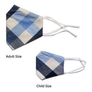 Reusable 3 Layer Blue Beige Checks Fabric Protective Washable Earloop Face Masks
