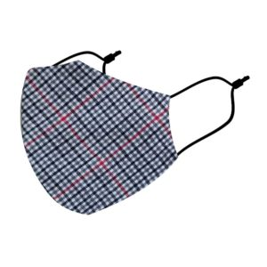Reusable 3 Layer Scottish Check Fabric Protective Washable Earloop Face Masks
