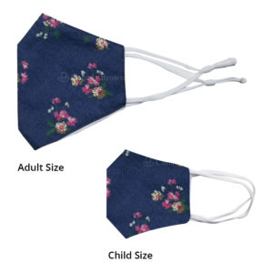 Reusable 3 Layer Blue Denim Yellow Floral Fabric Protective Washable Earloop Face Masks