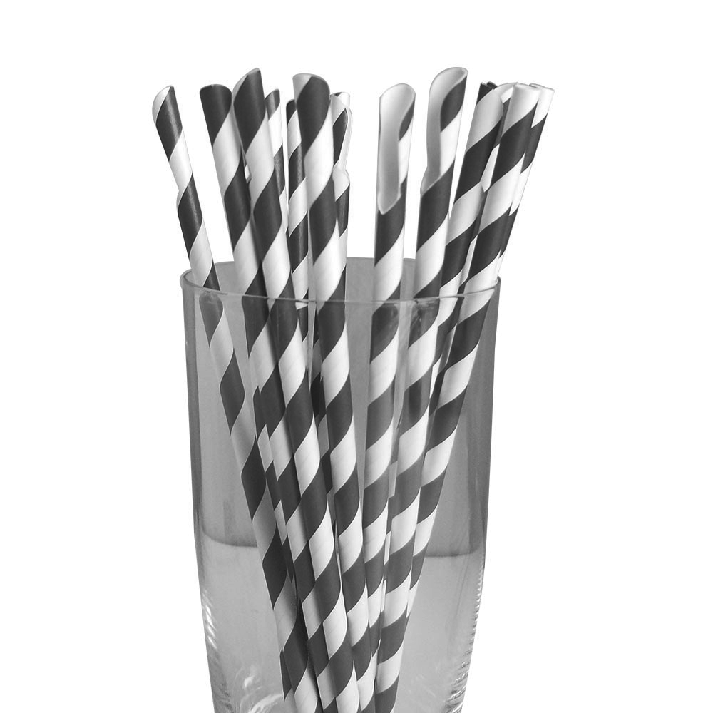 Jumbo Regular Black Spoon Straws