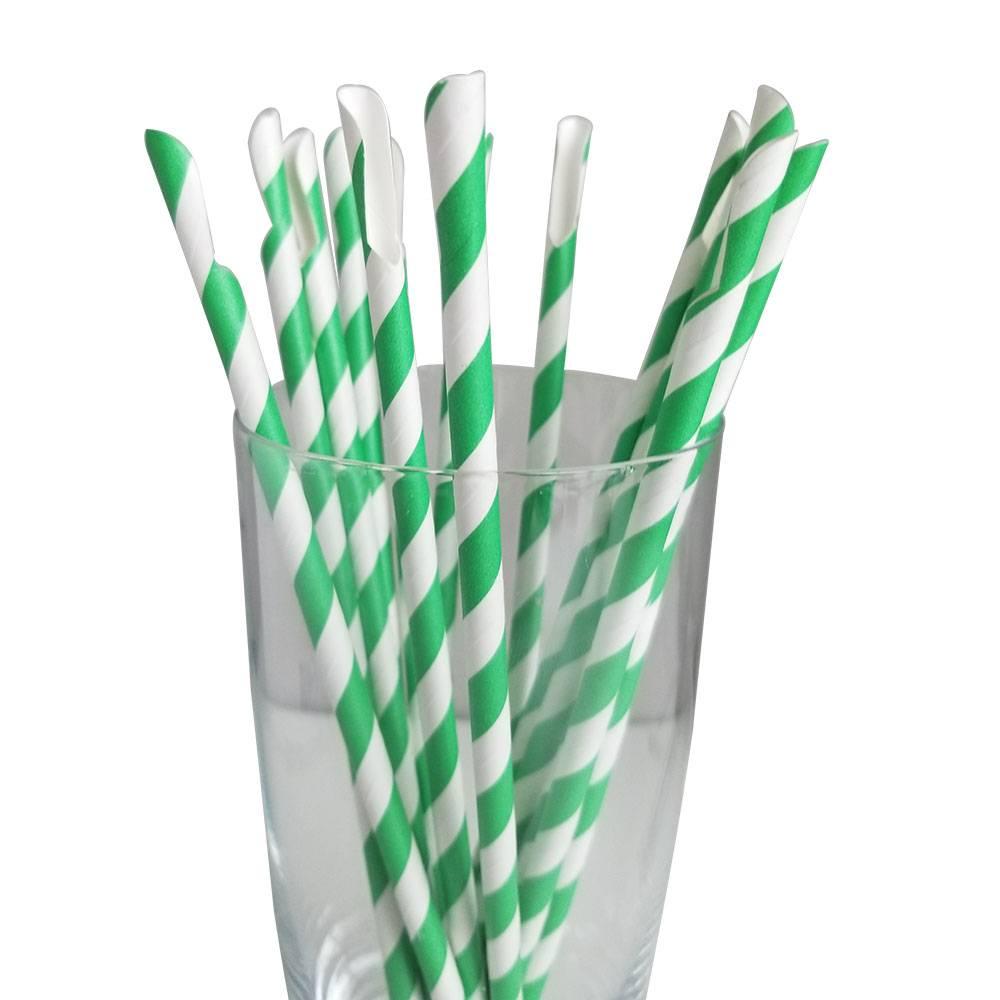 Jumbo Regular Green Spoon Straws