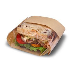 Natural Paper/Poly Large Size Sandwich Bag (500/CS) 5.75 x 2.75 x 9.5