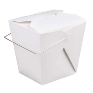 08WHWHITEMD 8OZ PAPERBOARD FOLDED FOOD CONTAINER WITH WIRE PLAIN (1000/CS)