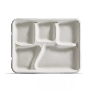 """5 Compartment 8 1/4"""" x 10 3/8"""" x 1"""" Fiber Tray (240/CS)"""