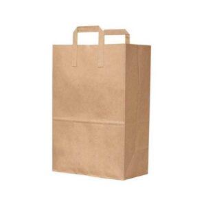 12 x 7 x 17 Kraft Flat Handle Paper Bags 300/Case
