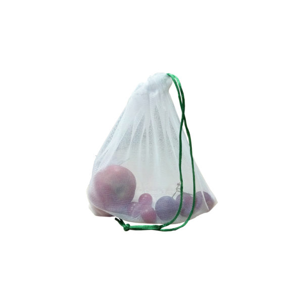 11.8 x 13 Polyester 20GSM White Mesh Drawstring Grocery Bags