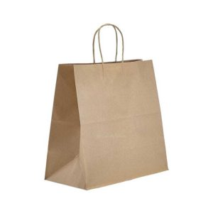 """14.5"""" x 9"""" x 16.25"""" Kraft Twisted Handle Paper Bags 200/Case"""