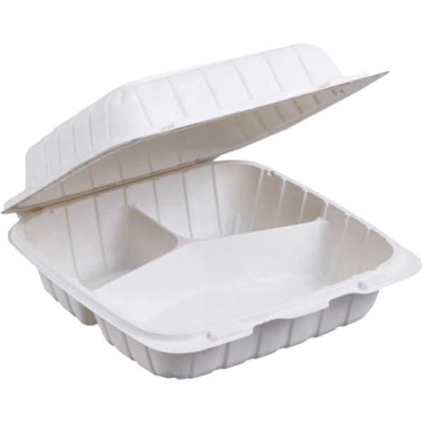 """9"""" X 9"""" X 3"""" 3 Compartments Biobase Hinged Container (150/CS)"""