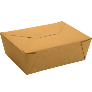 """#4 PLA Lined Compostable Kraft Paper Takeout Box 8.5"""" x 6.25"""" x 3 1/2"""" (160/CS)"""