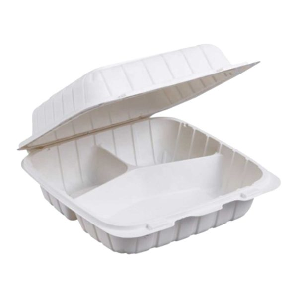 """8"""" X 8"""" X 3"""" 3 Compartments Biobase Hinged Container (200/CS)"""